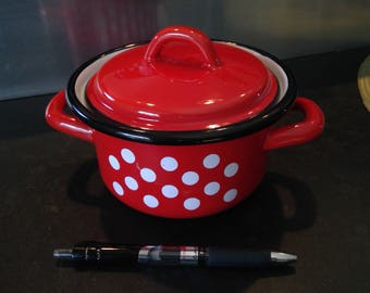 Vintage French Enamelware 14cm Red/White Polka Dot Pot