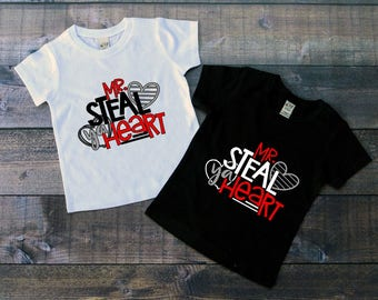 Children's Valentine's Day Tee Shirt, Mr Steal Ya Heart, Black or White Tee, Infants, Toddler, Youth, Boys Valentine Tee, Boys VDay T-Shirt