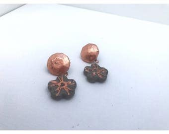 Copper foiled concrete flower dangle earrings