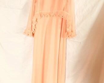 1960s | Vintage Dress| peach| sz 16