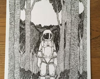 The lost astronaut - A4, original drawing, ink drawing.