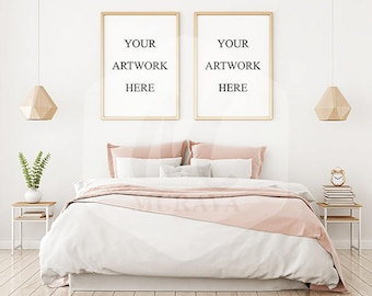 Bedroom portrait frames mockup, Double frame mockup, gold frames