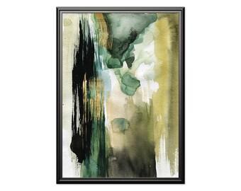 Autumn foil, watercolor green black gold art, abstract watercolor art, abstract olive & gold wall art, printable home decor, abstract gold