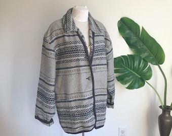 Vintage Southwestern Grey Wool Blend Plus Size Jacket, Size Large / Wool Blanket Coat