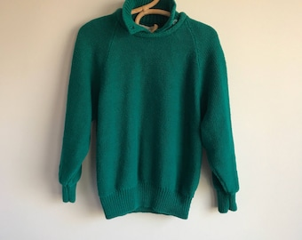 Green Gap Sweater with collar, 80's green sweater, Size Large