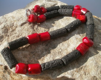 Lava Necklace with Bamboo coral #632
