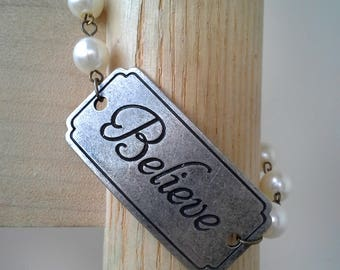 Believe Bracelet: Tag and Pearl