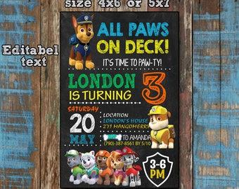 Paw Patrol,Paw Patrol Invitation,Paw Patrol Birthday,Paw Patrol Party,Paw Patrol Printable,EDITABLE TEXT