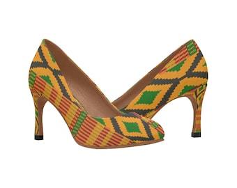 Kente Print Heels / Pumps