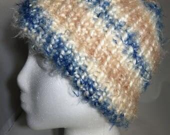 Super Soft Blue and Tan Knit Hat