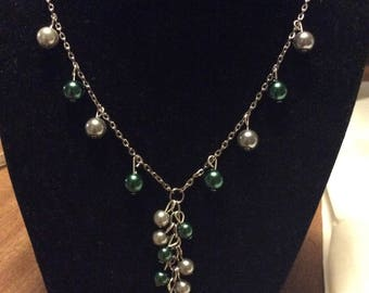 Green and silver cluster necklace