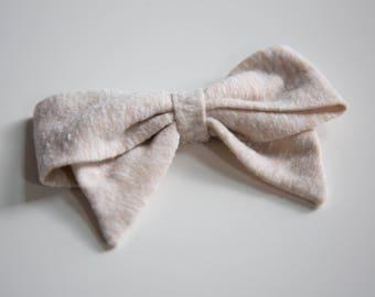 Large & Extra Large Heathered Sand Schoolgirl Bow on Headband or Clip