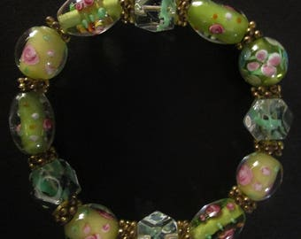 Clear Glass Beaded Stretch Bracelet Vintage