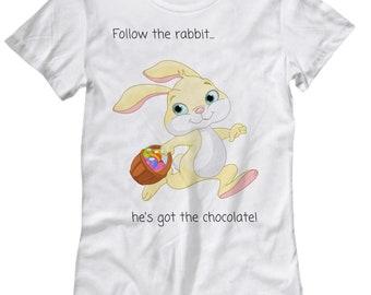 Follow the Rabbit Women's T Shirt - Easter Novelty