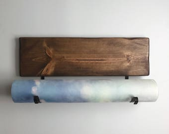 Ships Today | Yoga Mat Holder, Natural Brown Stain | One of a Kind Wall Mounted Yoga Mat Rack