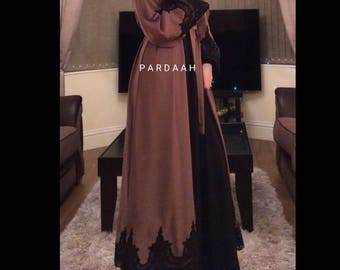 Abaya, Latte/brown colour, with black lace on Nida material.
