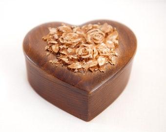 "Jewelry box ""Roses on heart"", Wooden box, Jewelry organizer, Jewelry storage, Girls jewelry box, Vintage jewelry box, Carved wooden box."