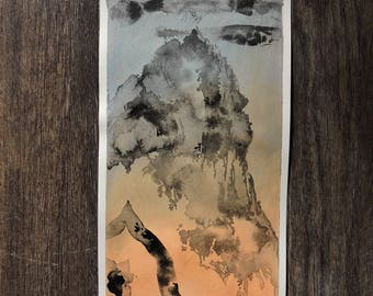 "Small Original Mixed Media Artwork On Paper - American Southwest Desert Landscape -""Boulder, Colorado: Flatiron Mountain Range"""