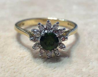 Emerald with diamond 0,5 ct ring