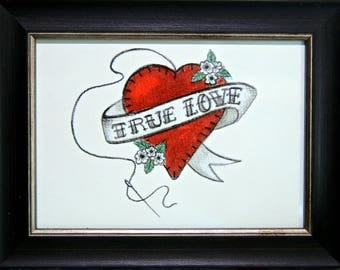 """Art. Gift. Wedding,Engagement,Anniversary or just to say """"I Love You"""".  Vintage Inspired Love Heart Print - Framed Art"""