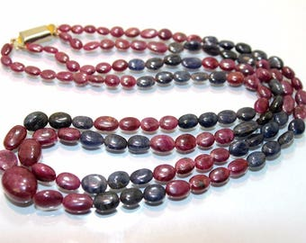 Natural Ruby and sapphire smooth oval beads size 11x14 to 3.5x5 mm 2 string necklace