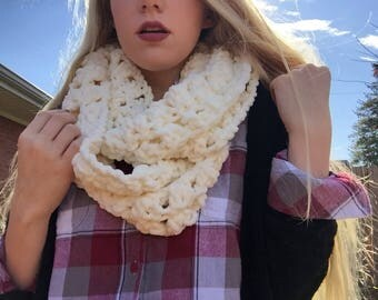 Off-White Crocheted Infinity Scarf