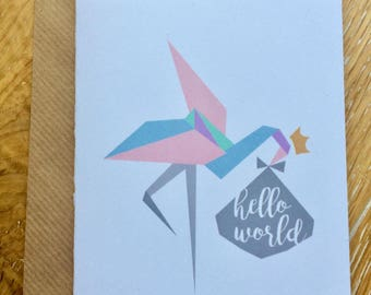 New baby hello world flamingo pastel colours A6 card