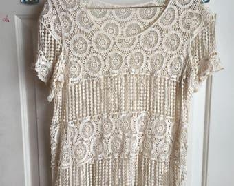 Elegant cream short sleeve lace shirt