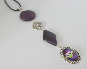 Original vertical necklace in purple, purple OWL cabochon and purple, purple, silver acrylic.