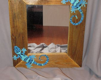 Hand painted geckos mirror with reclaimed wood