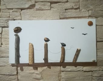 Table Pebble birds on a fence picket wood-craft Creation
