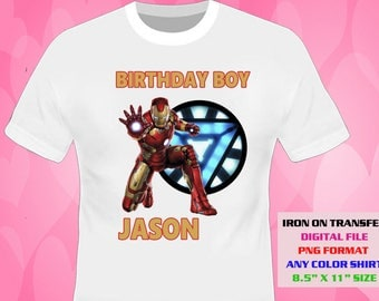 Iron Man Iron On Transfer , Iron Man DIY Boy Birthday Shirt , Iron Man DIY Transfer , Printable , Digital Files