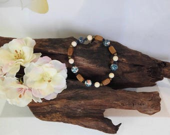 Natural Howlite & Rain Flower Stone healing gemstone stretch bracelet with Swarovski Crystal