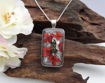 Stunning Natural Preserved Metallic Green Beetle with Dried Coral Ixora Blooms resin cast Rectangle Pendant with Sterling Silver Necklace