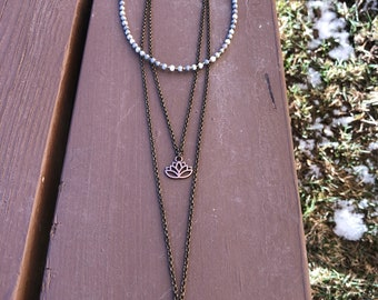 Multi Strand Necklace with Silverite Beads
