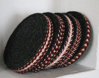 5 Patterns. Handmade Red-White-Dark Grey Tablet Woven Viking Trim/Band  (100% Pure Wool), 1-4 m Length, Without Tassels
