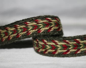 Handmade Green-Red Tablet Woven Viking Trim/Band (100% Pure Wool) 1-4 m Length, Without Tassels