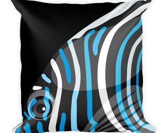 Saltwater Aquarium Fish Cushion - Emperor Angelfish Cushion - Gift for Aquarium Lovers