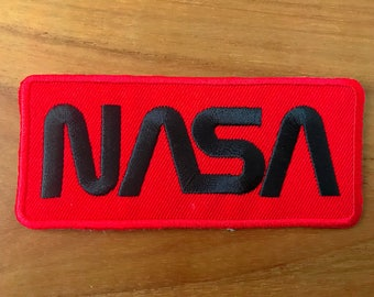 NASA Logo Black/Red Color Embroidered Iron on Patch