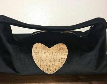 Big bag in black velvet and heart of cork