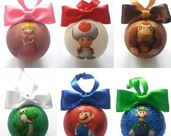Super Mario Christmas Tree Baubles/Decorations - set of 6