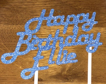Celebration Birthday Cake Topper/Sparkly Cake Topper/Glitter Any Name/Word Cake Topper/Happy Birthday Glitter Cake Topper/ Personalised Glit