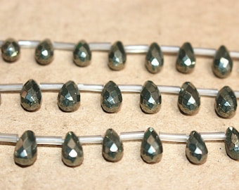 Natural Teardrop Shape  Iron Pyrite Beads Facted top drilled Beads,15 Inches Full strand