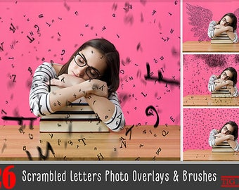 26 Falling letters Photo Overlays, Scrambled letters, photoshop overlay,photoshop brushes, PNG Transparent background, magic shine book