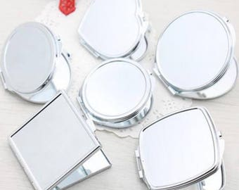 Compact Mirror Blanks - Frame Pocket Mirror - Blank Compact, Round/Heart/Oval/Square Blank Compact Tray