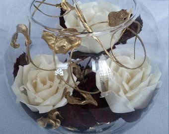 Glass Ball Full of Beautiful Cream Roses Dried  Maroon Leaves  Gold Curly Ting Ting.