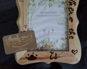 wood art, wood burning,  5 x 7, wooden photo frame,  handmade, home is where the paw is, pet, dog , cat