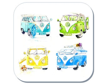 Summer Holidays - Camper Van Coaster (Corked Back). From an original Sheila Gill Watercolour Painting