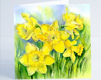 Spring Daffodils Flower Greeting Card by Sheila Gill