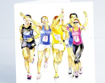 Marathon Running  Greeting Card - Taken from an original watercolour by Sheila Gill